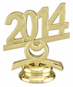 "2 1/2"" Gold Circle 2014 Year Date Trophy Trim Piece"
