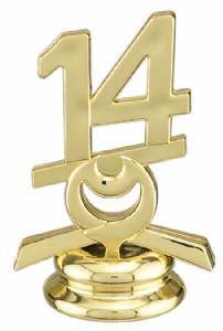 "2 1/2"" Gold Circle 14 Year Date Trophy Trim Piece"