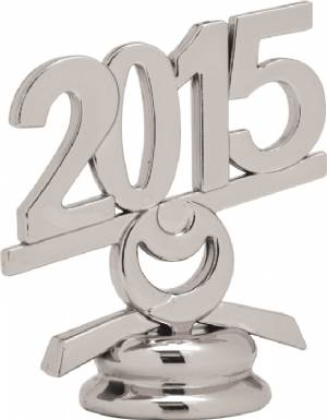 "2 1/2"" Silver Circle 2015 Year Date Trophy Trim Piece"