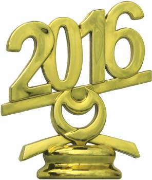 "2 1/2"" Gold Circle 2016 Year Date Trophy Trim Piece"