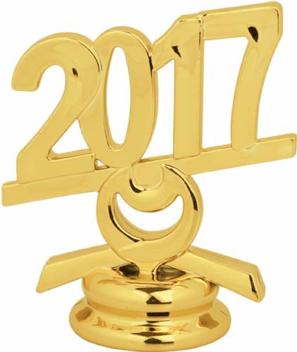 "2 1/2"" Gold Circle 2017 Year Date Trophy Trim Piece"