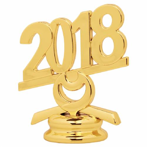 "2 1/2"" Gold Circle 2018 Year Date Trophy Trim Piece"