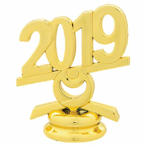 "2 1/2"" Gold Circle 2019 Year Date Trophy Trim Piece"