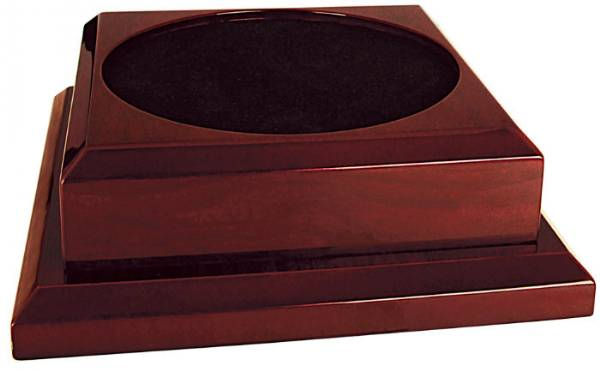 "Rosewood Royal Piano Finish Pedestal Base - No Hole - 9"" x 9"""