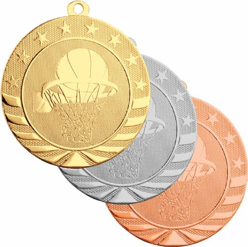 "2 3/4"" Basketball Starbrite Series Medal"