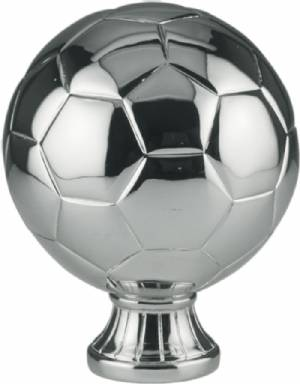 "5 1/2"" Silver Metallized Soccer Ball Resin"