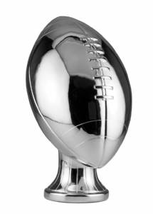 "11"" Silver Metalized Lifesize Football Resin"