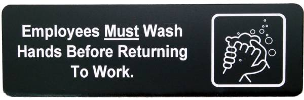 "Employees Must Wash Hands Sign Black 2 3/4"" x 8 11/16"""