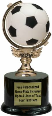"7"" Spinning Soft Soccer Ball Trophy Kit with  Pedestal Base"