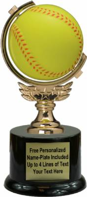 "7"" Spinning Soft - softball Trophy Kit with Pedestal Base"
