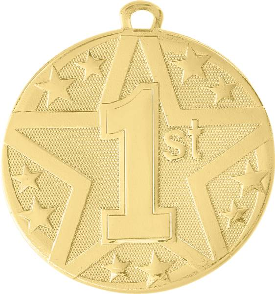 "2"" Gold 1st Place StarBurst Series Medal"