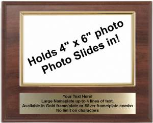 7 X 9 Cherry Finish Plaque with Gold 4 x 6 Photo Holder