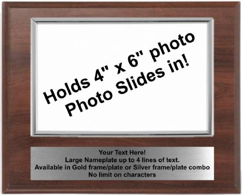 7 X 9 Cherry Finish Plaque with Silver 4 x 6 Photo Holder