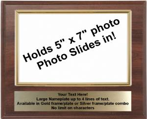 8 X 10 Cherry Finish Plaque with Gold 5 x 7 Photo Holder