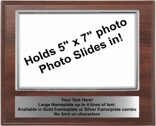 8 X 10 Cherry Finish Plaque with Silver 5 x 7 Photo Holder