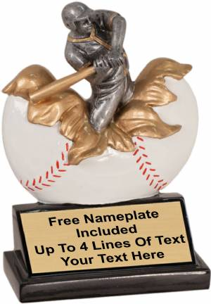 "5 1/4"" Male Baseball Explosion Trophy Hand Painted Resin"