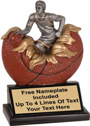 "5 1/4"" Male Basketball Explosion Trophy Hand Painted Resin"
