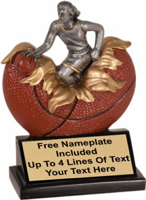"5 1/4"" Female Basketball Explosion Trophy Hand Painted Resin"
