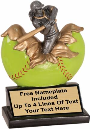 "5 1/4"" Female Softball Explosion Trophy Hand Painted Resin"