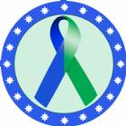 "2"" Blue Green Awareness Ribbon Trophy Insert"
