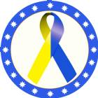 "2"" Blue Yellow Awareness Ribbon Trophy Insert"
