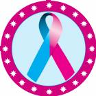 "2"" Light Blue Pink Awareness Ribbon Trophy Insert"