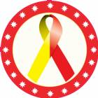 "2"" Red Yellow Awareness Ribbon Trophy Insert"
