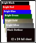 "12"" X 24"" Sheet Anodized Aluminum 7 Colors"