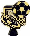 "Gold 4-3/4"" Black/Gold Soccer Trophy Figure"