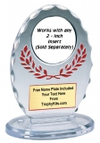 "Clear / Red 6 3/8"" Standing Oval Award"